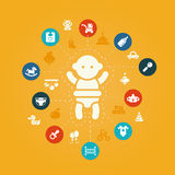 Illustration of concept flat design cute baby Stock Photo