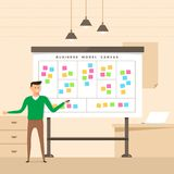 Illustration concept the man present with whiteboard business mo. Del canvas. Vector illustrate Stock Image