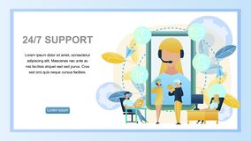 Illustration Concept Online 24to7 Support Customer. Horizontal Banner Guy, Girl Sitting Computer Advising Client Online Store. Technical Customer Support vector illustration