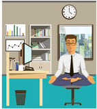 Illustration of the concept of relax and work balance. Office man doing Yoga to calm down the stressful emotion from multi-tasking and very busy working Stock Photo