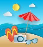 Illustration concept of summer holiday, flipflops on sandy beach, solar umbrella, camera and sea or ocean. Design by Stock Photo