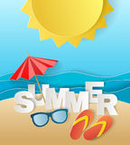 Illustration concept of summer holiday, flipflops on sandy beach, solar umbrella, camera and sea or ocean. Design by Stock Photography