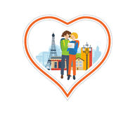 Illustration concept - a trip to France, love  city. Concept of a trip to France and love for this city. The feeling of love to the city. Greeting card. The Stock Photos