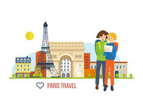 Illustration concept - a trip to France, love  city. Concept of a trip to France and love for this city. A guy and a girl looking for a route to the background Royalty Free Stock Photography