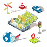 Illustration of the concept of using the mobile application of the global positioning system. Illustration of the concept using the mobile application of the Royalty Free Stock Photo