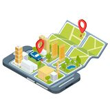 Illustration of the concept of using the mobile application of the global positioning system. Illustration of the concept using the mobile application of the Royalty Free Stock Photography