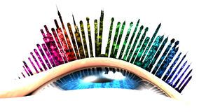 This illustration conceptualizes an urban vision with firework. The eye is looking up. The eyelashes are replaced with buildings Royalty Free Stock Images