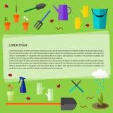 Illustration conceptuelle colorée lumineuse avec des outils de jardin d'isolement sur le fond vert frais sur le thème du jardinag illustration libre de droits