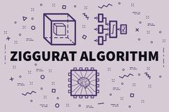 Illustration conceptuelle d'affaires avec l'algorit de ziggurat de mots illustration libre de droits