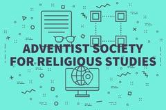 Illustration conceptuelle d'affaires avec le societ d'Adventiste de mots illustration stock
