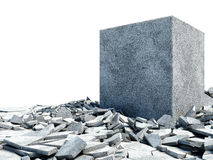 Illustration Concrete Block Breaking Through From Floor Stock Image