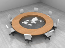 Illustration of a conference room with a table. 3d illustration of a conference room with round table and world map stock illustration