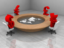 Illustration of a conference room with a table. 3d illustration of a conference room with trade currency and world map royalty free illustration