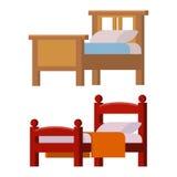 Illustration confortable de nuit de repos d'icône de lit de vecteur de collection de meubles à la maison intérieurs réglés de som illustration stock