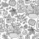 Illustration confortable de vecteur de chute Illustration détaillée de griffonnage d'automne illustration stock