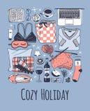 Illustration confortable tirée par la main de mode Oeuvre d'art créative d'encre Dessin réel de vecteur Ensemble de vacances, liv Photos stock