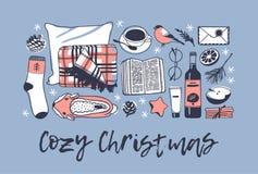 Illustration confortable tirée par la main de Noël Oeuvre d'art créative d'encre Dessin réel de vecteur Ensemble d'hiver, livre,  Photographie stock libre de droits