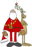 Santa and a reindeer standing under the mistletoe Royalty Free Stock Photography