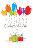 Illustration -- Congratulation with balloons Stock Photos