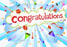 Illustration congratulations wording and celebrati Royalty Free Stock Photos