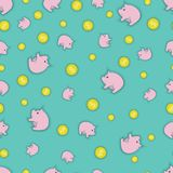 An illustration consisting of coins and piggy banks Stock Photo