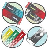 An illustration consisting of four different images of the coloring rollers. In the form of a symbol or logo Stock Images