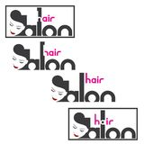 An illustration consisting of four different images of the female head and the inscription `hair salon`. Nan illustration consisting of four different images of Royalty Free Stock Image