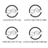 An illustration consisting of four images of a wood and metal cutter. In the form of a symbol or logo Stock Photography