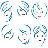 An illustration consisting of six images of female heads vector illustration