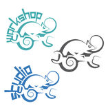 An illustration consisting of three images in the form of a chameleon Stock Images
