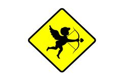 Love zone cupid zone yellow sign board. The illustration consists of love zone cupid zone yellow sign board royalty free illustration