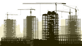 Illustration of construction site with crane and building. royalty free illustration