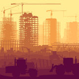 Illustration of construction site with crane and building. vector illustration