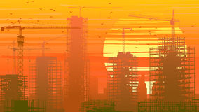 Illustration of construction site with crane and building at sun stock illustration