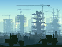 Illustration of construction site with crane. vector illustration
