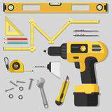 Illustration construction tools diy, flat design Royalty Free Stock Images