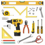 Illustration construction tools diy, flat design Royalty Free Stock Photography