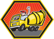 Construction Worker Driver Cement Mixer Truck Stock Images