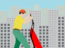 illustration of a construction worker. Vector illustration of a construction worker with  barrow Stock Images