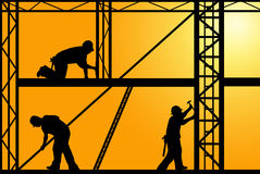 Illustration of construction workers. With orange sky in background Royalty Free Stock Photography
