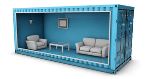Illustration of Container House. Reuse Container for building houses. 3d Illustration of Container House. Reuse Container for building houses Stock Photos