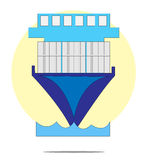 Illustration of containership with circle background Stock Images
