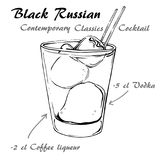BLACK RUSSIAN Contemporary Classics Cocktai 1. Illustration of Contemporary Classics Black Russian sketch Royalty Free Stock Images