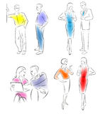 Illustration conversing characters. Four pairs of men and women talking royalty free illustration