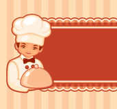 Illustration of the cook. Vector illustration of the cook with a frame for the text Royalty Free Stock Images