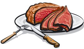 Roast beef meat. Illustration of cooked roast beef meat on plate Stock Image