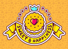 Illustration of cookie top view with text sweet&happiness Stock Photography