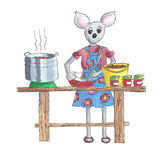 Illustration cooking jam. Illustration of mouse cooking jam from fresh fruit Stock Photography