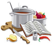 Illustration cooking soup. Illustration of cooking soup with meal ingredients Stock Image