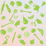 Illustration of cooking things and foods stock images